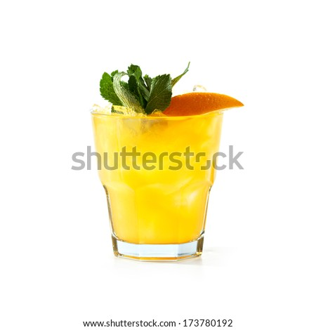 Whiskey Peach Smash Cocktail - stock photo
