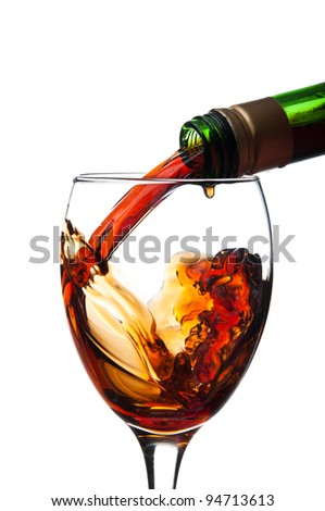 whiskey pouring isolated on a white background
