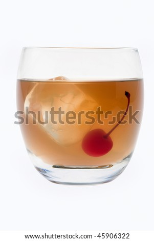 Whiskey Sour mixed drink with cherry garnish on white background - stock photo