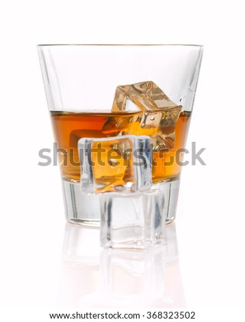 whiskey splash with ice cubes isolated on white
