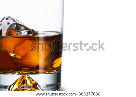 Whiskey With Ice Cubes - stock photo