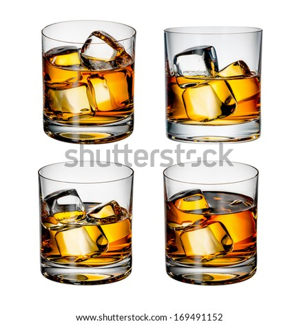 whiskey with ice on a white background