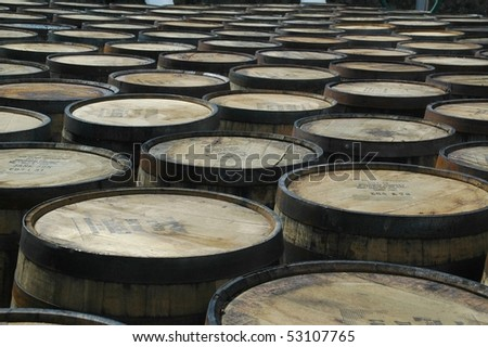 Whisky barrels in a distillery - stock photo