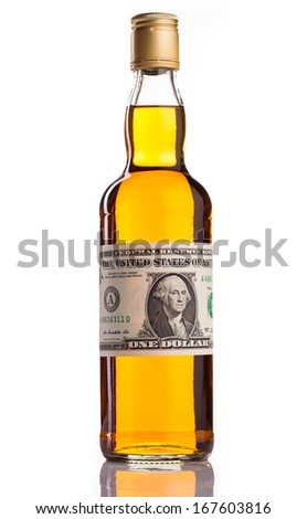 whisky bottle and money isolated on white - stock photo