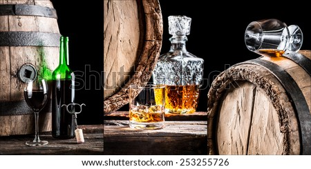 Whisky, Cognac and wine are alcohols stored in barrels in the cellar - stock photo