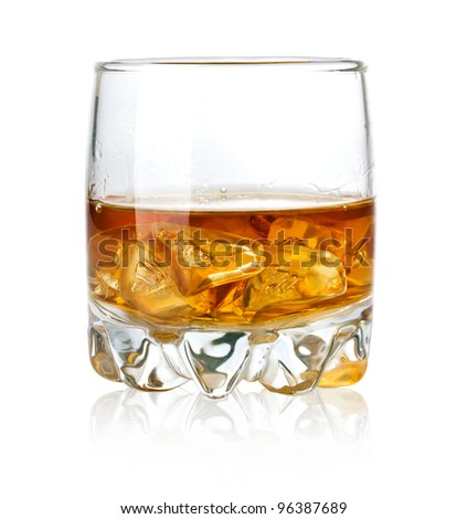 Whisky glass and ice isolated on white background - stock photo