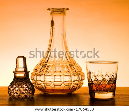Whisky glass with de canter - stock photo