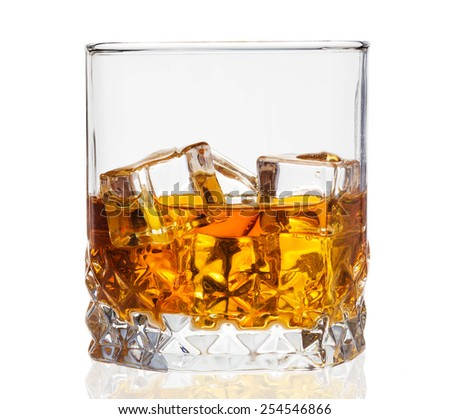 Whisky on the rocks  - stock photo