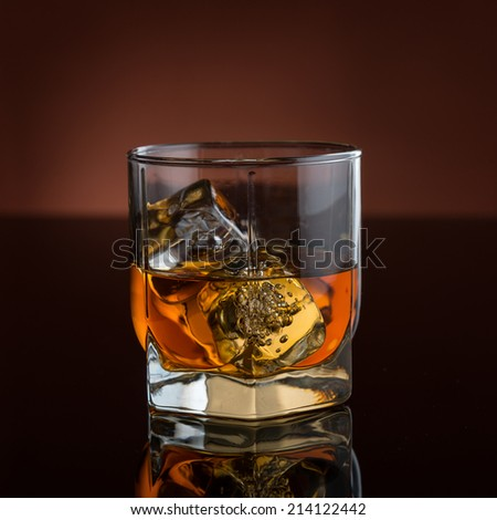 Whisky with ice - stock photo