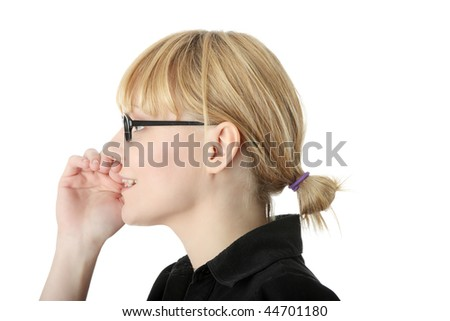 whispering Confident business woman standing wearing elegant clothes and whispering - isolated over a white background