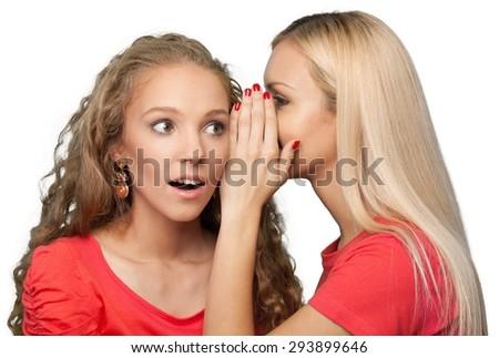 Whispering, Women, Friendship. - stock photo