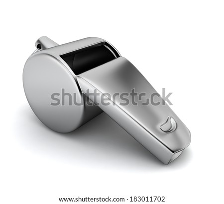 Whistle. 3d illustration on white background  - stock photo