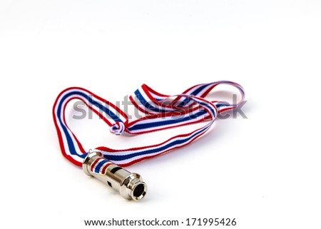 Whistle for Thai people against government with isolated on - stock photo