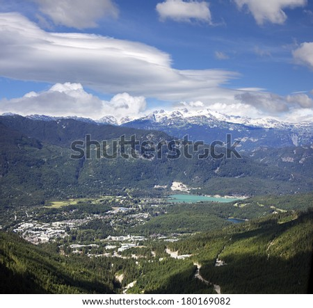 Whistler and Coast Mountains, British Columbia, Canada - stock photo