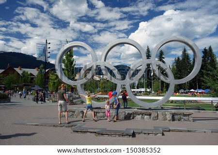 WHISTLER, BC - JULY 24: Noise complaints persist over Olympic Plaza in Whistler BC on July 24, 2013. Whistler was the site of the 2010 Winter Olympic alpine events. - stock photo