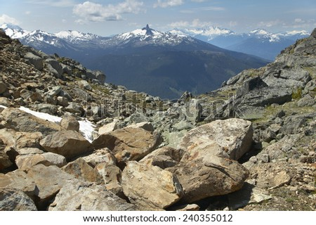 Whistler landscape with rocks and mountains. British Columbia. Canada. Horizontal - stock photo