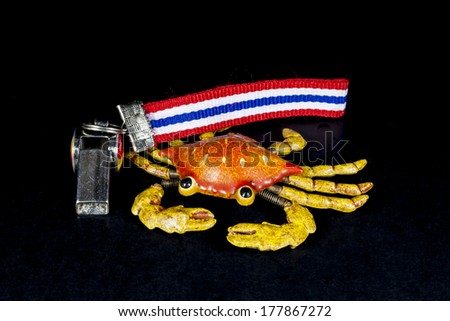 whistles with Thailand national flag lanyard on black background - stock photo