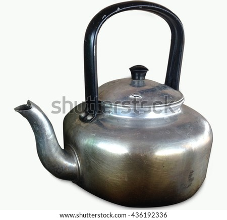 whistling kettle isolated on white background, still life with old aluminium, Select focus aluminium kettle. - stock photo