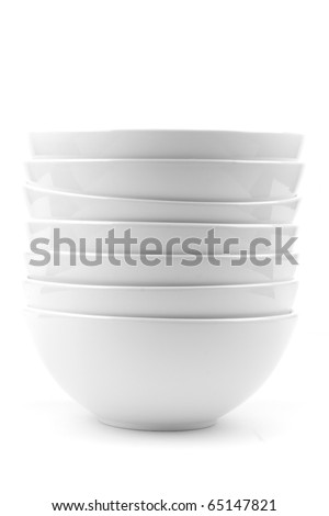 whit soup bowls isolated on white - stock photo