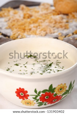 whit soup with home made noodles - stock photo