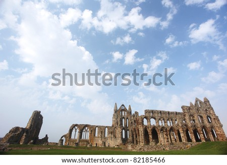 Whitby Abbey castle a ruined Benedictine abbey sited on Whitby's East Cliff in North Yorkshire on the north-east coast of England.UK - stock photo