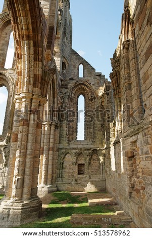 Whitby Abbey in North Yorkshire, in the UK, ruins of the Benedictine abbey. Now it is under protection of the English Heritage.