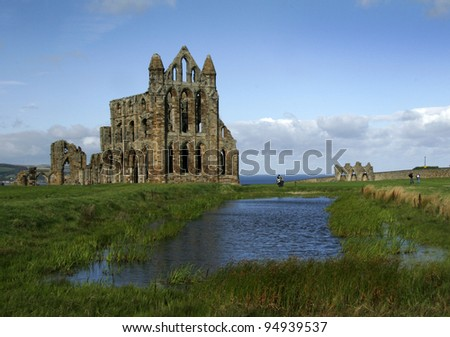 Whitby Abbey in Yorkshire. - stock photo