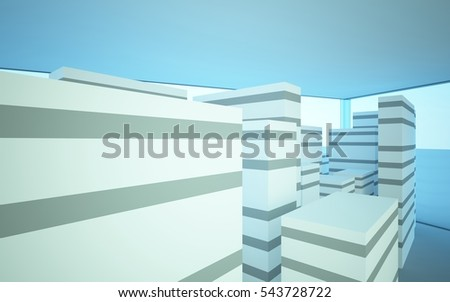 White abstract architectural background whith blue windows . 3D illustration and rendering