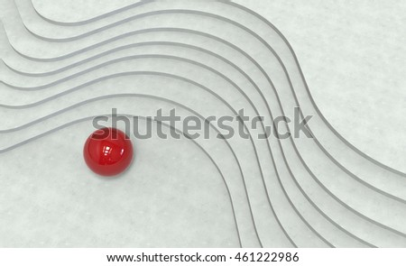 White abstract architecture background with curved stairs and red metal ball . 3d illustration