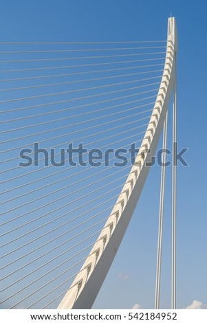 White Abstract Bridge Structure On Sky