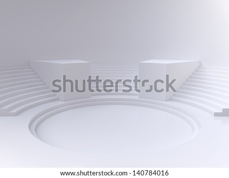 white abstract circle room, 3d render - stock photo