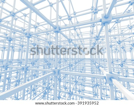 White abstract Construction architecture background. 3d render illustration - stock photo