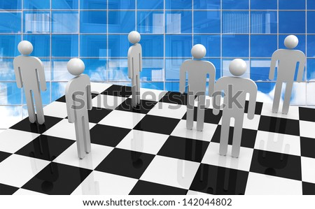 White abstract 3d people stand on chessboard with blue glass office wall on a background. Office workers competition concept  - stock photo