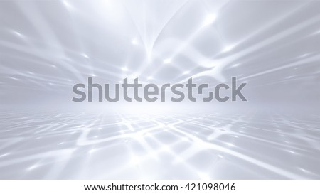 white abstract futuristic technology background with fractal horizon - stock photo