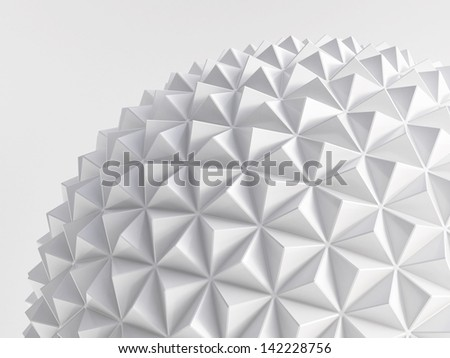 white abstract low poly geo sphere - stock photo