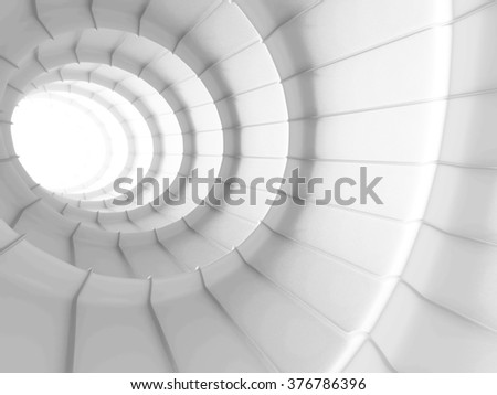 White Abstract Tunnel Design Background. 3d Render Illustration - stock photo