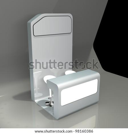 white advertising counter - stock photo