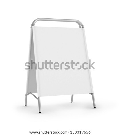 white advertising stand. 3d rendering on white background  - stock photo
