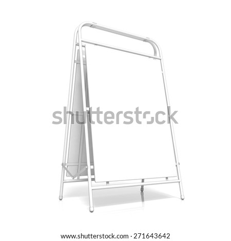White advertising stand, with copy space board. Side view. 3D illustration isolated on white background - stock photo