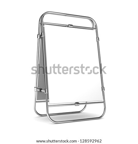 White advertising stand. With space for your text and picture. 3d render blank trade show booth for designers? - stock photo