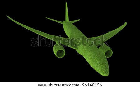 White aircraft on black background banking right. - stock photo