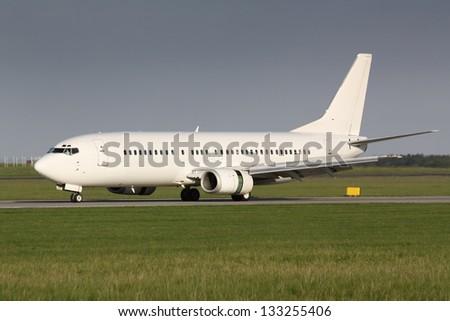 White airplane - stock photo