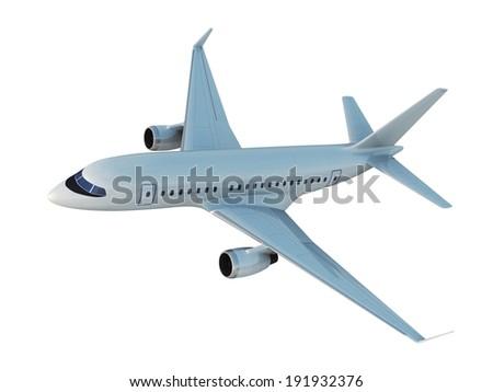 White Airplane, 3d render - stock photo