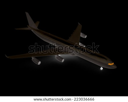 White airplane on a black background - stock photo