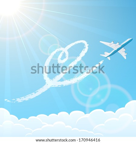 White airplane on blue sky background with heart, illustration. - stock photo