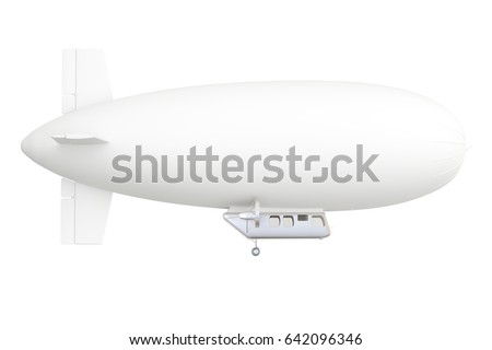White airship or dirigible balloon, 3D rendering isolated on white background