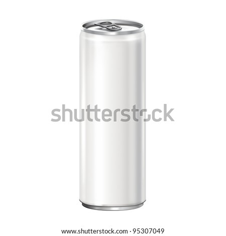 White aluminum can on white background. - stock photo
