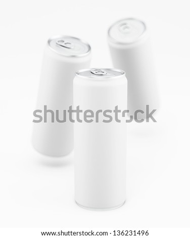 White aluminum cans on the white background - stock photo