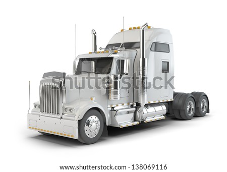 White american truck isolated on white background - stock photo