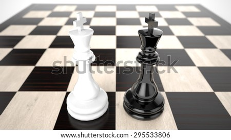 White and Black Kings against a background of empty desk